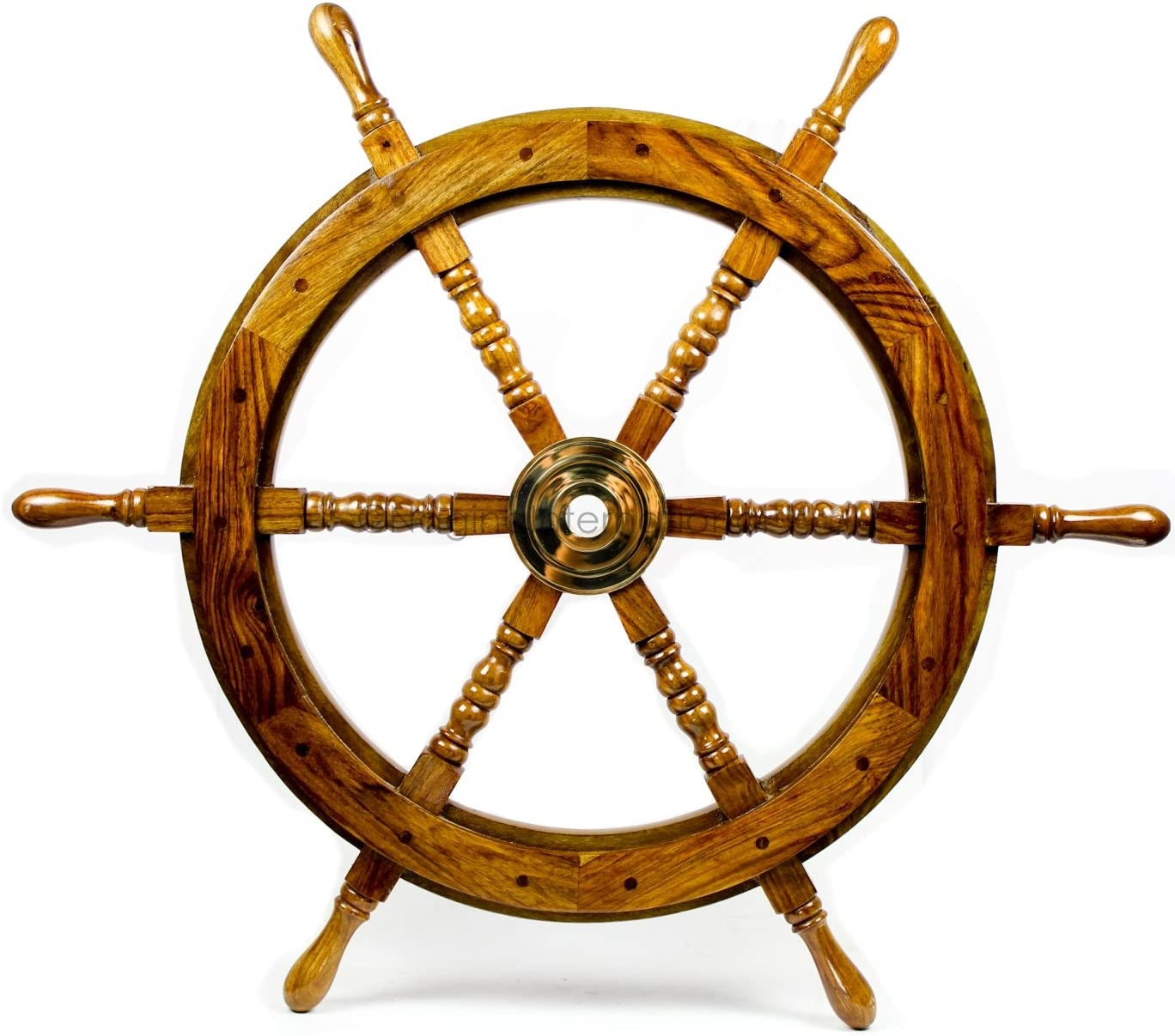 Nagina International Nautical Handcrafted Wooden Ship Wheel - Home Wall Decor (30 Inches, Natural Wood)
