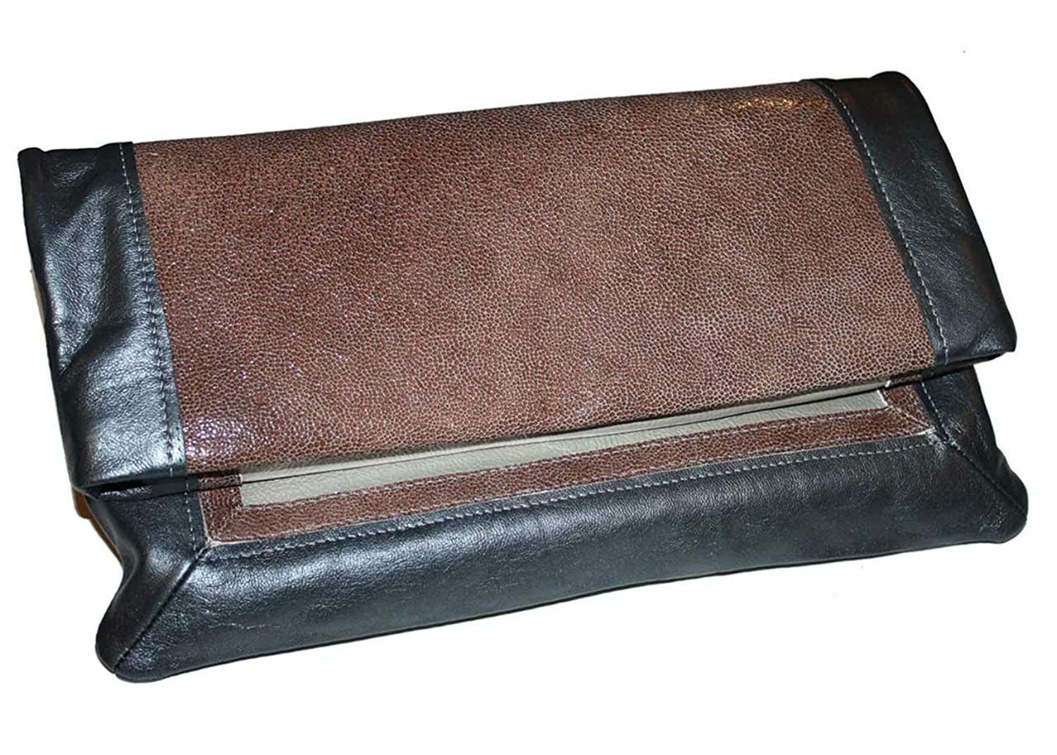 Chic Convertible Fold-Over Clutch Bag - 100% Genuine Leather - Made in USA