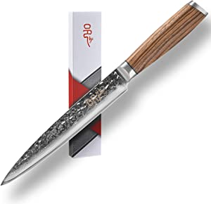 Damascus Carving Knife, Yi Vegetable Meat Cleaver Knife 8 Inch Hammered Japanese Chef Knife with Wooden Handle for Home and Restaurant - Ultra Sharp
