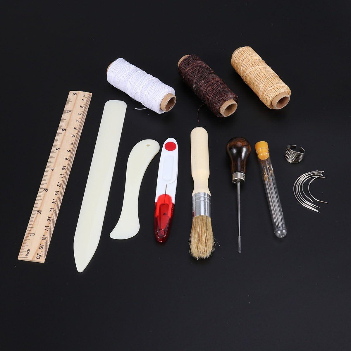 ULTNICE Ensemble de 23 outils pour la reliure manuelle et le travail du cuir