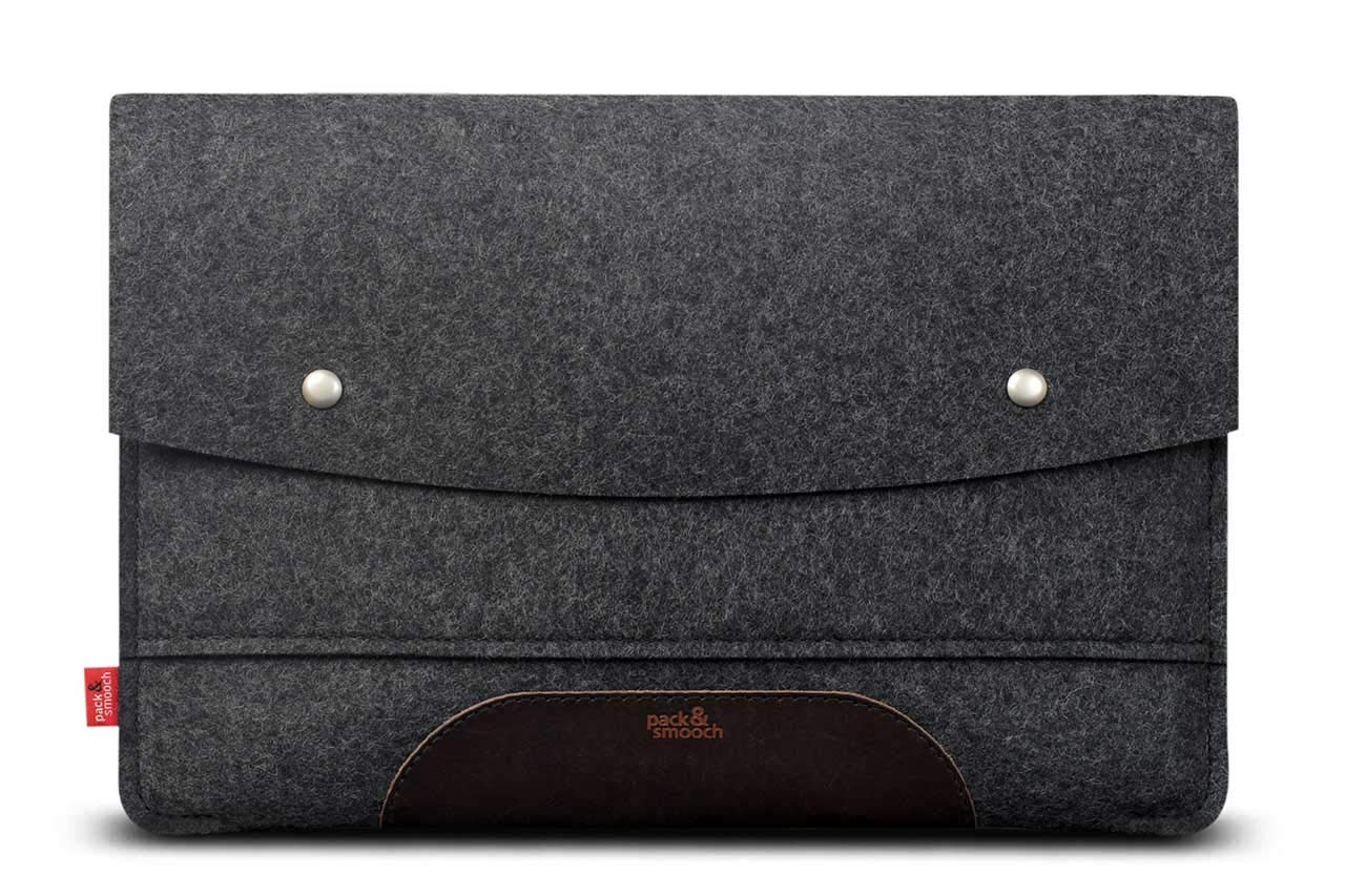 Pack & Smooch Hampshire 13 Inch Laptop Sleeve Case - Compatible with 13'' MacBook Air - Made with 100% Merino Wool Felt and Vegetable Tanned Leather (Dark Grey/Dark Brown)