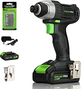 "Impact Driver, GALAX PRO 20V Lithium Ion 1/4"" Hex Cordless Impact Driver with LED Work Light, 6pcs Screwdriver Bits, Variable Speed (0-2800RPM)- 1.3Ah Battery and Charger Included"