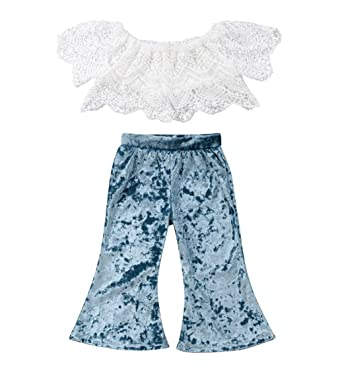 6d7babe9f3e6c rechange Baby Girls Pants Set Off Shoulder Short Sleeve Lace Crop Top +  Velvet Long Bell