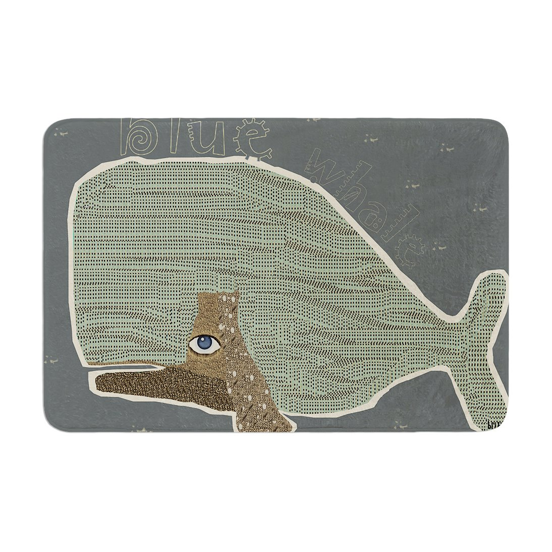 17 by 24 Kess InHouse Bri Buckley Blue Whale Blue Green Memory Foam Bath Mat