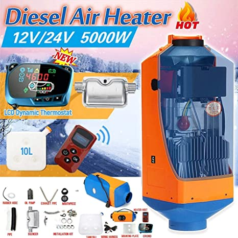 5KW Aria Diesel Riscaldatore del Carburante 12V // 24V Riscaldatore del parcheggio Auto Riscaldamento Elettrico Raffreddamento Monitor LCD Termostato per Camper rimorchio Camper Camion Barche