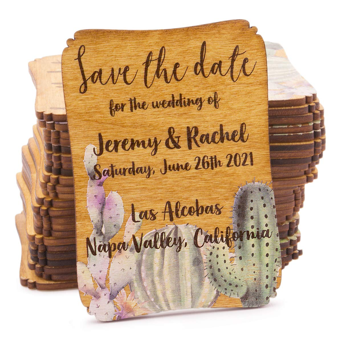 50 Personalized Painted Wood Save the Date Fridge Magnet for Rustic Wedding (Cacti & Succulents) by Summer-Ray.com