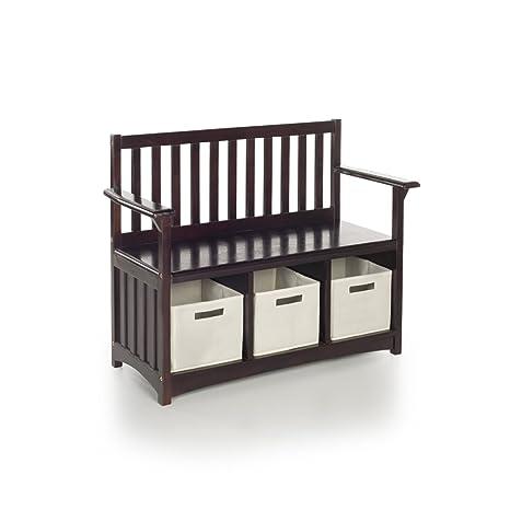 Guidecraft Classic Espresso   Dark Cherry Storage Bench With Bins   Home  Kids Furniture