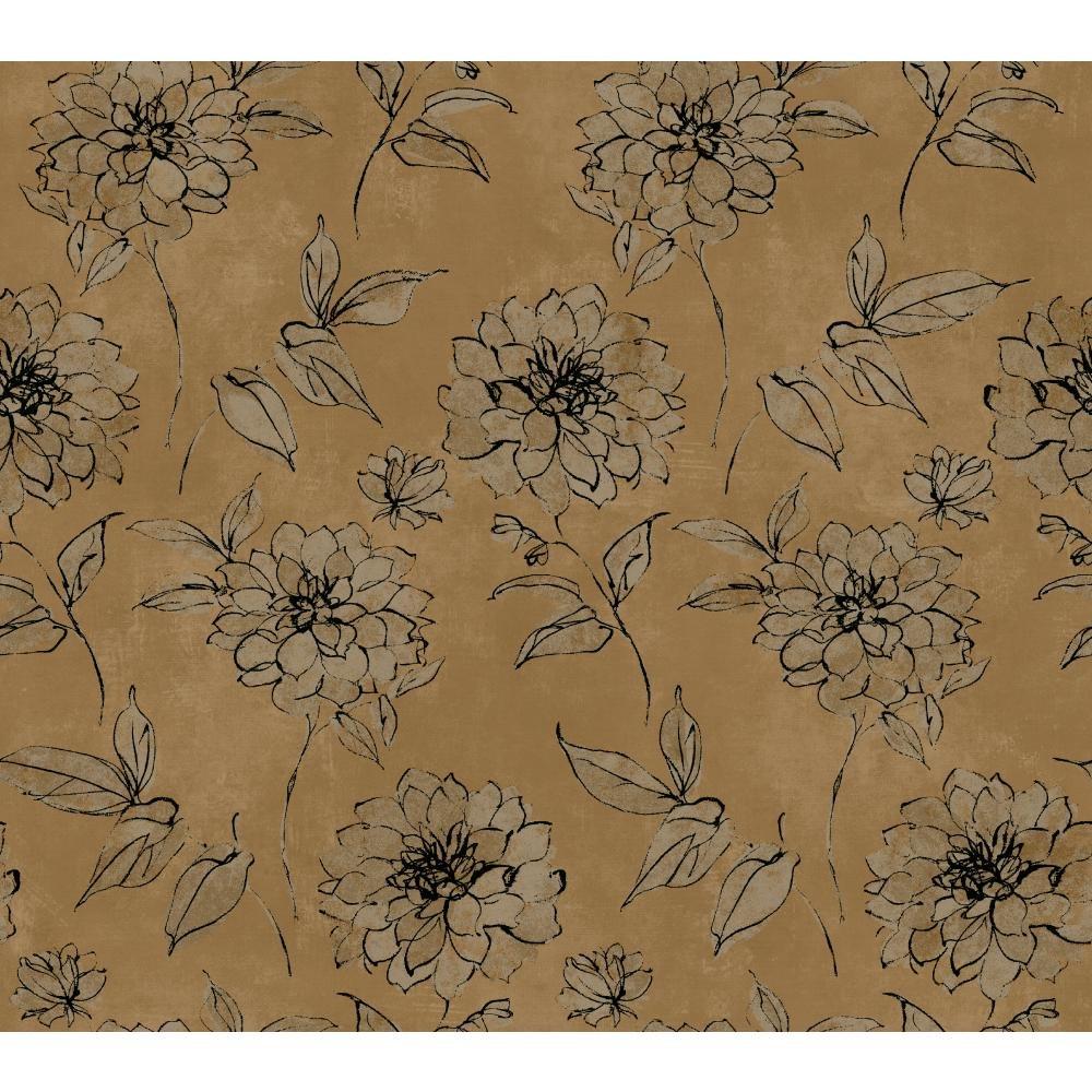 York Wallcoverings BR6217 Whisper Prints Sketched Rose Wallpaper, Bronze Pearl Metallic/Dusky Oyster/Inky Black