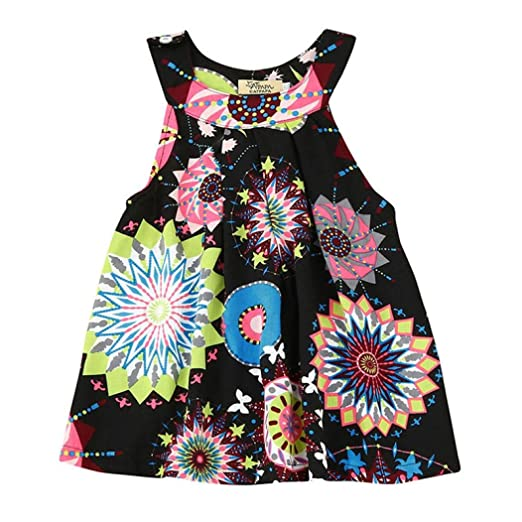 Lurryly Baby Girls Floral Dresses Summer Bohemian Dress Kids Beach Sundress  Clothes Outfit Black cb565af07777