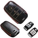 iJDMTOY (1) Black Premium Leather 3D Key Fob Holder Cover For 2014-up KIA Optima K5 Forte Forte5 K3 Sportage Rio, etc