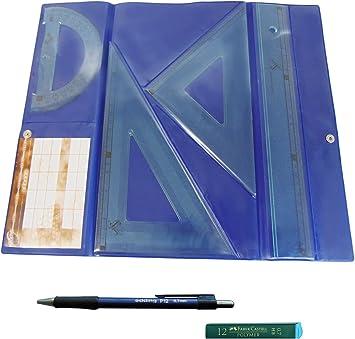 Serivan Pack Lote Estuche tecnic Juego Compuesto por Regla 30 cm, escuadra y cartabón de 25 cm + Portaminas Edding P12 + 1 Tubo de 12 Minas Faber Castell 0.7 mm HB: Amazon.es: Juguetes y juegos