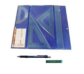 PACK LOTE Estuche tecnic SERIVAN Juego compuesto por Regla 30 cm, escuadra y cartabón de 25 cm + Portaminas Edding P12 + 1 Tubo de 12 Minas Faber ...