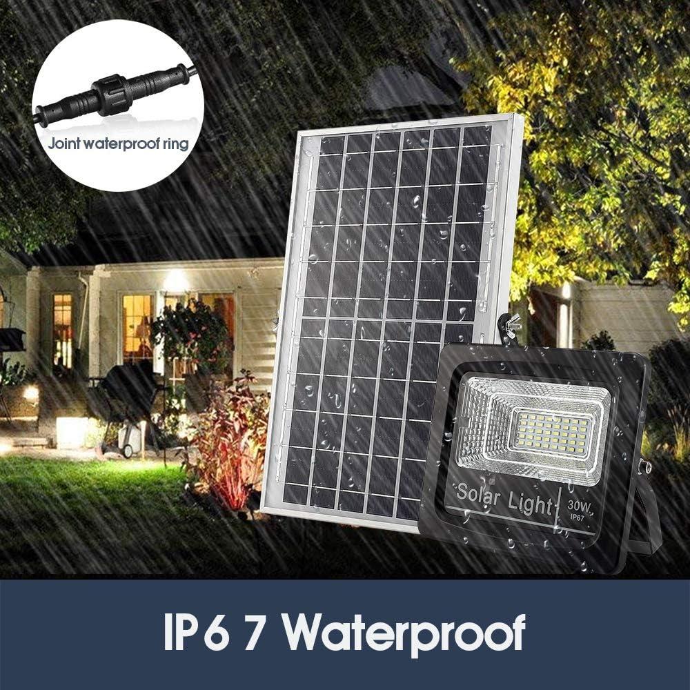 Outdoor Solar Flood Lights 30W, 1200 Lumens Ip67 Waterproof Solar Powered Flood Light, mit Remote Control Switch, Dusk zu Dawn Solar Security Light für Sign, Garden, Farm, Shed, Pool, Garageoo