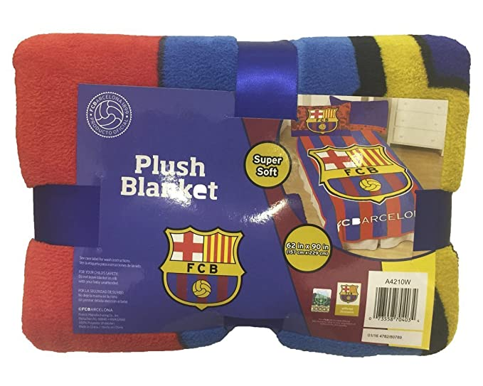 Amazon.com: FC Barcelona Twin Sized Plush Micro Raschell Throw Blanket 62