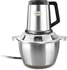 Stainless Steel Food Processor,Electric Meat Grinder And Baby Food Chopper,Small Vegetable Mincer For Salad,Meat,Nuts,Carrot,Potato,8 Cups(2L) 350W,Steel Bowl.