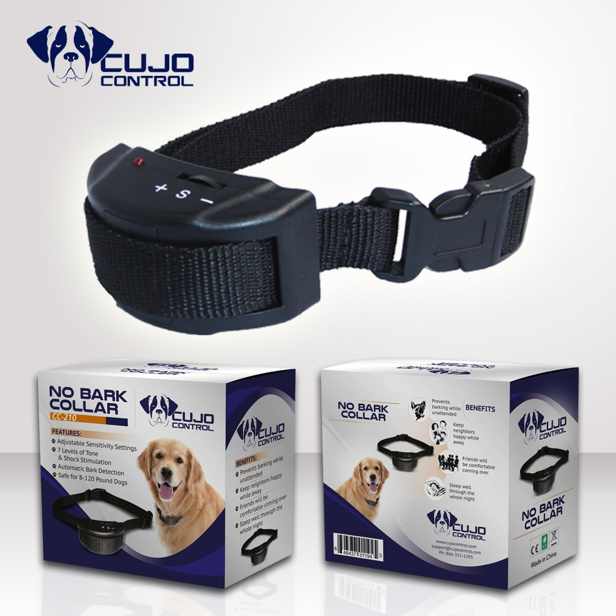 OOS Cujo Control Anti Bark Collar-Best No Bark Collar for Small Breeds M & L