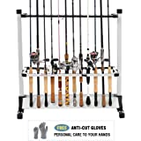 FISHINGSIR Fishing Rod Rack - 28 Wood Rod Holder with Wheels/24 Aluminum Pole Stand Rod Storage Organizer for All Fishing Rods and Combos (Extra Cut Proof Gloves as Gift)