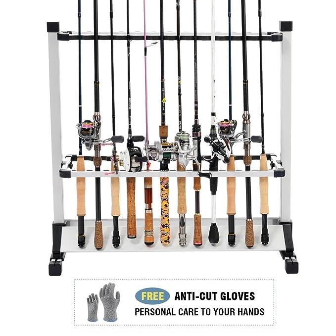 Amazon.com: FISHINGSIR Aluminum Fishing Rod Rack - 24 Fishing Rods ...