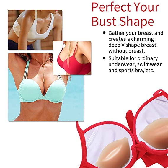 9dac4163a3 Strapless Bra Silicone Inserts Gel Invisible Breast Pads   Breast Push Up    Firming Bust Enhancers Padding NEW 2019 VERSION  at Amazon Women s Clothing  ...