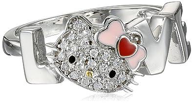 187aa2d2e Amazon.com: Hello Kitty Sterling Silver Heart Bow Swarovski Crystal ...