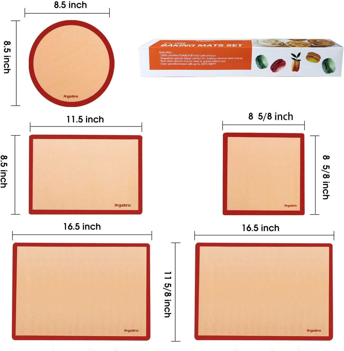 1 Round /& 1 Square Cake Pan Mat Silicone Baking Mats Set of 6-2 Half Sheets Mats 100/% Nonstick Reusable Silicone Mat- Bake Pastry for Cookie and Macaron 2 Quarter Sheet Liner