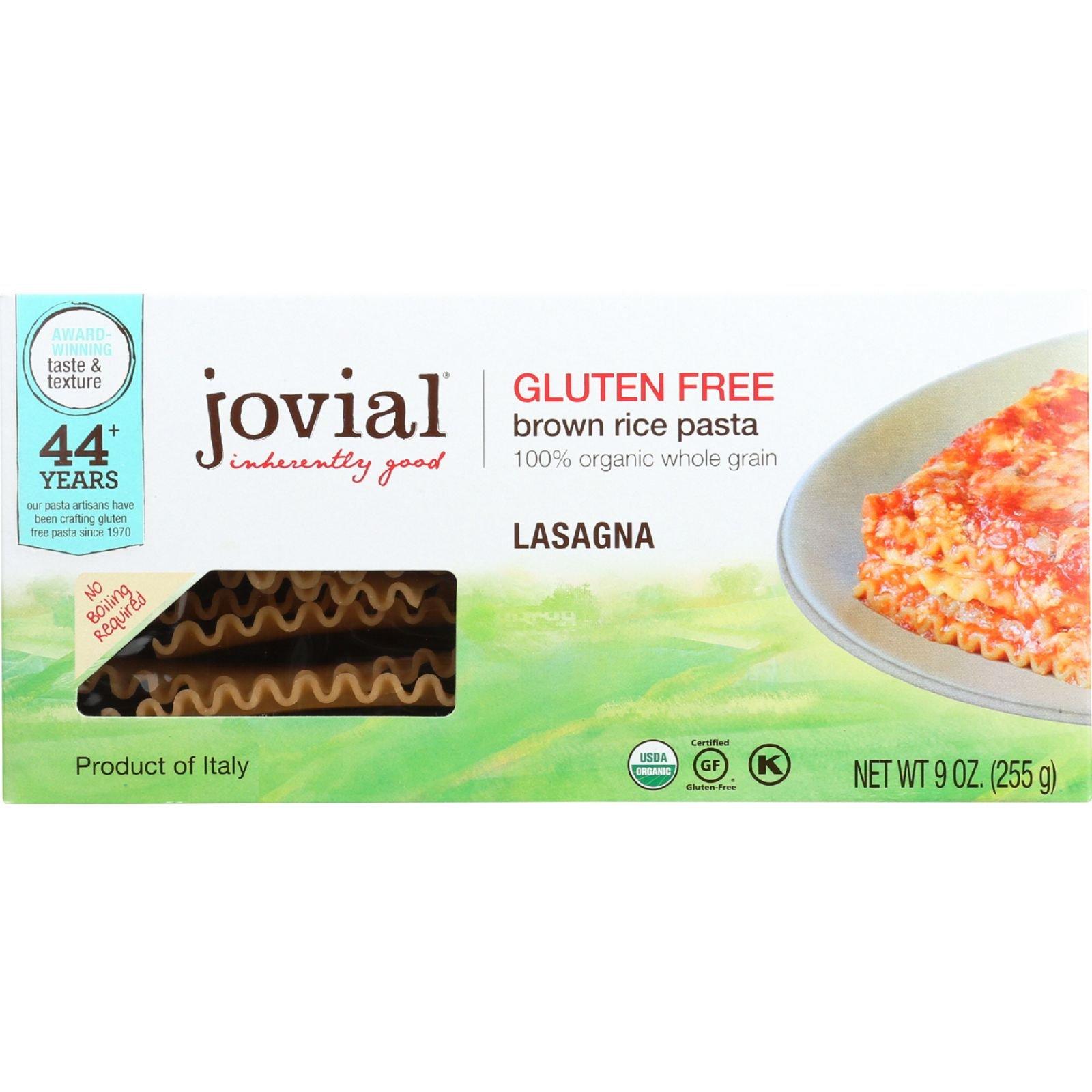 Jovial Pasta - Organic - Brown Rice - Lasagna - 9 oz - case of 12 - 100% Organic - Gluten Free - Dairy Free - Yeast Free - Wheat Free-Vegan by Jovial
