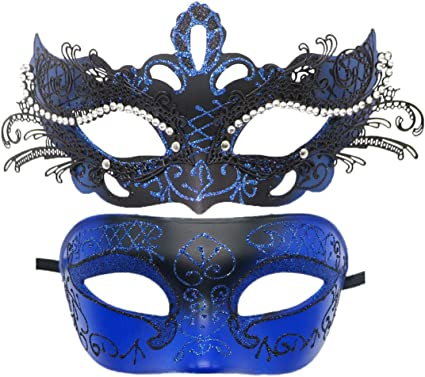 Couple Black Silver Masquerade mask pair Dress up birthday bachelor party