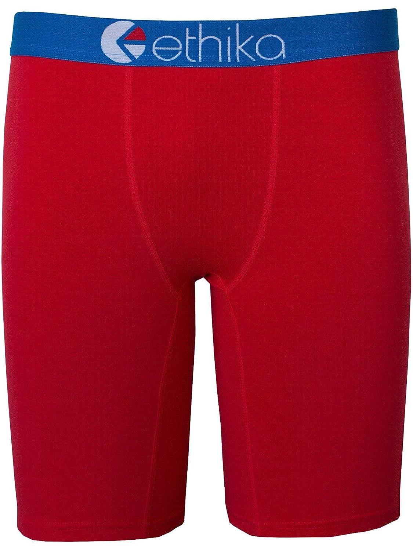 Ethika Men's The Staple Capital Boxer Brief Underwear Red Blue M
