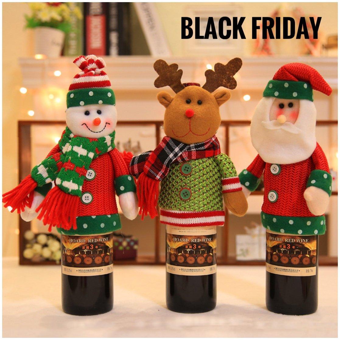 3D Christmas Wine Bottle Cover 3PCS Holiday Wine Bottle Décor for Home Party, Wine Bottle Sweater Santa Snowman Reindeer