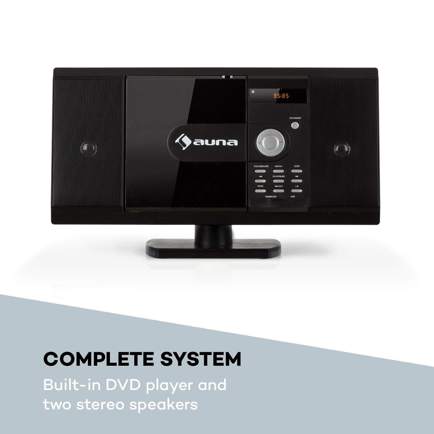 auna MCD-82 BT /• Vertikal Stereoanlage /• Kompaktanlage /• Microanlage /• DVD- // CD-Player /• Bluetooth /• USB-Port // SD-Slot /• UKW Radio /• HDMI /• schwarz MCD6-82 BT BK