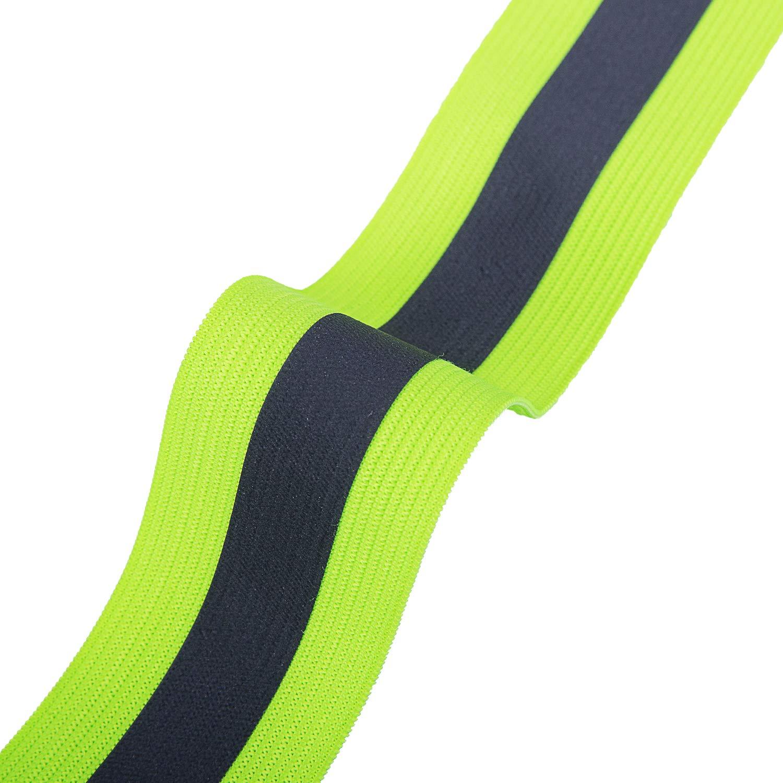 Reehut Gilet Jaunes de S/écurit/é Rayures R/éfl/échissant Haute Visibilit/é R/églables Elastiques pour Running Course Cyclisme Promenade Adulte Homme Femme Jaune Fluorescent 2pcs