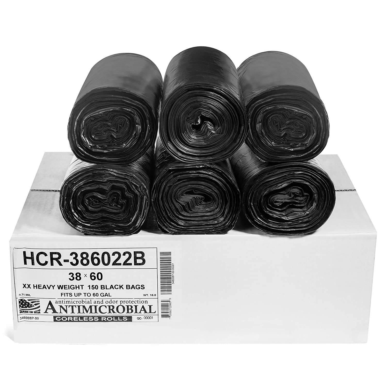 Aluf Plastics 55-60 Gallon Black Trash Bags (150 Count) - 38