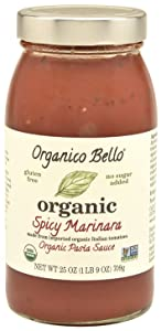 Organico Bello - Organic Gourmet Pasta Sauce - Spicy Marinara - 25oz (Pack of 6) - Non GMO, Whole 30 Approved, Gluten Free