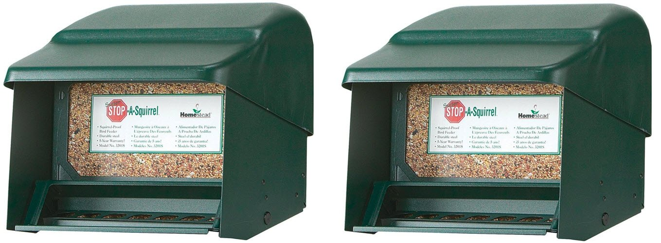 Homestead Super Stop-A-Squirrel Bird Feeder (Green River Texture) - 3201S (2-Pack)