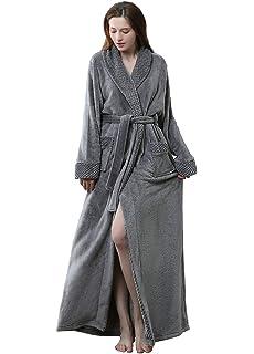 f10513d3dc Womens Long Robe Fleece Dressing Gown Plush Luxury Bathrobe Ladies Shawl  Collar…