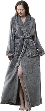 ZAKASA De Las Mujeres Largo Fleece Bata Lujoso Felpa Longitud Total Batas Ropa de Dormir: Amazon.es: Ropa y accesorios