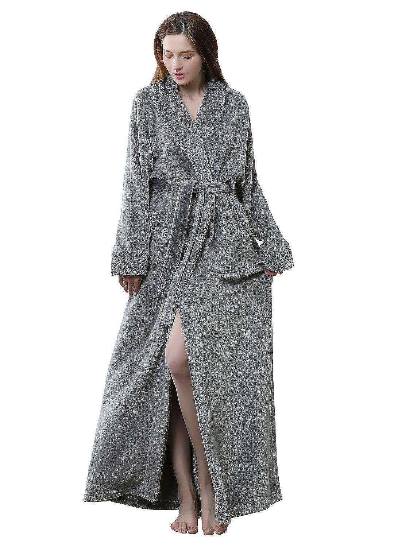 e6f114f887 Womens Long Robe Fleece Dressing Gown Plush Luxury Bathrobe Ladies Shawl  Collar Housecoat Sleepwear  Amazon.co.uk  Clothing
