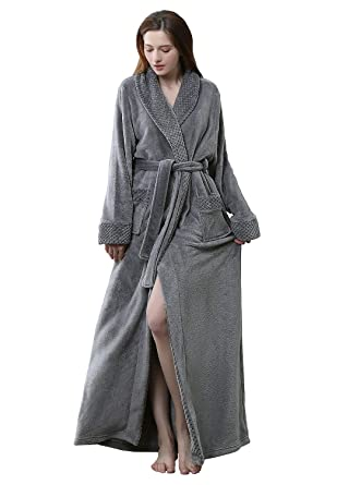 Womens Long Robe Fleece Dressing Gown Plush Luxury Bathrobe Ladies Shawl  Collar Housecoat Sleepwear Grey 7f98774f0