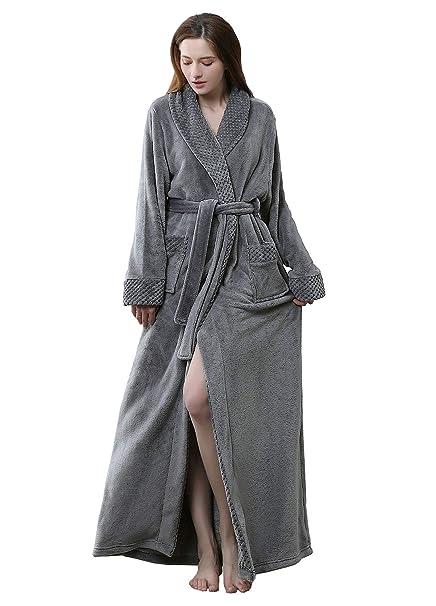catch enjoy best price reasonable price Women Long Fleece Robes Luxurious Plush Bathrobe Full Length Pajamas  Sleepwear