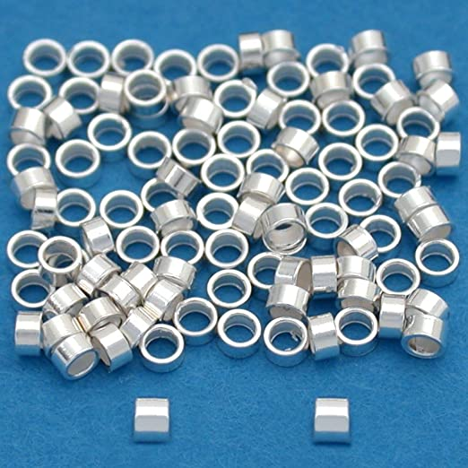 925 Sterling Silver TUBE CRIMPS 1mm 3mm stopper beads findings wholesale 2mm