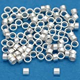 100 Sterling Silver Crimp Tube Beads Beading 2x1mm