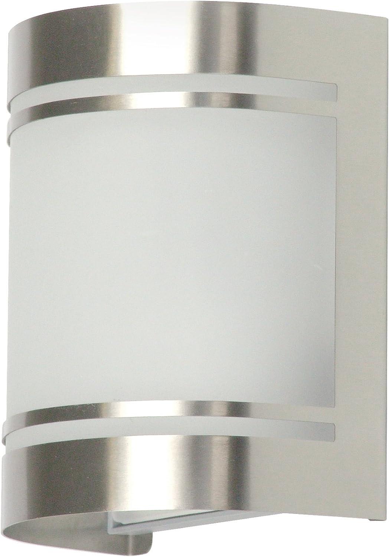 Ranex 10.010.25 Luz de Pared Alicante sin sensor de movimiento, Exterior, Acero inoxidable, Conector E27, IP44