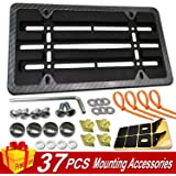 Aootf Front License Plate Mounting Kit-Universal Front Plate Holder Adapter Bumper Bracket & Carbon Fiber Style License Plate