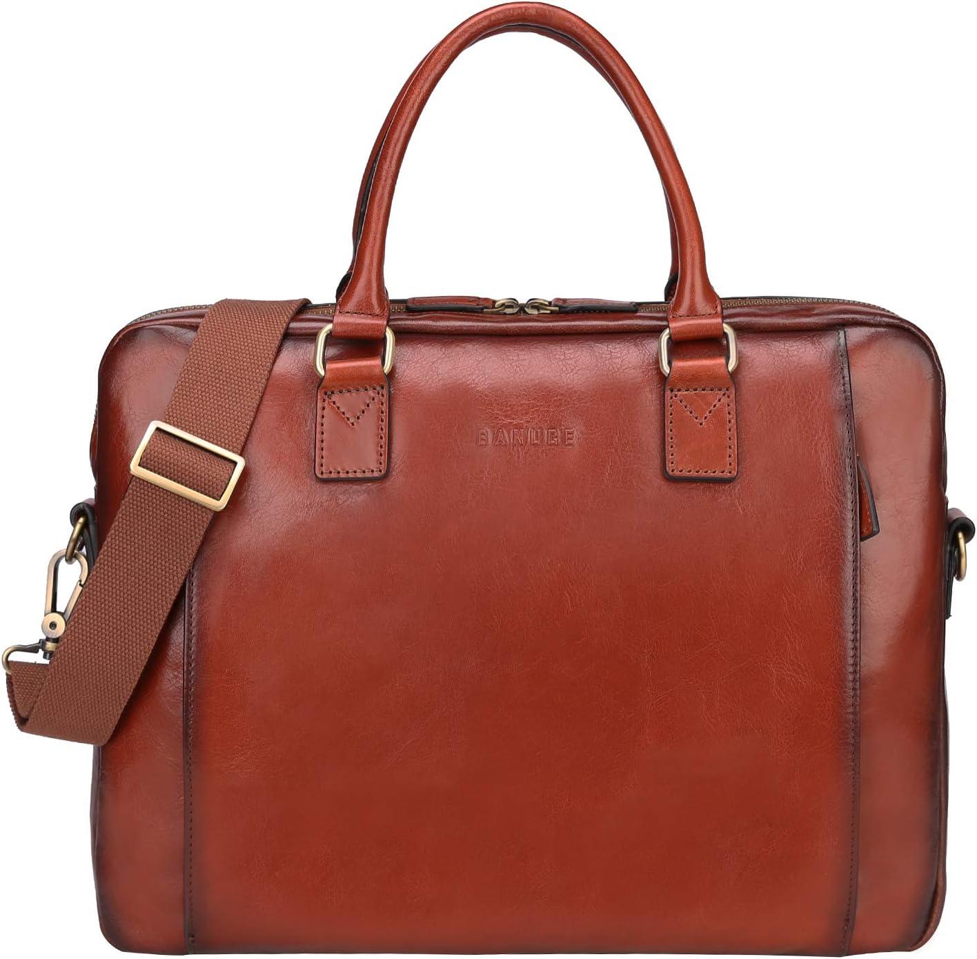 Banuce Full Grains Italian Leather Womens Briefcase 14 Laptop Bag Attache Case Ladies Handbags Tote Satchel Purse Messenger Business Bags