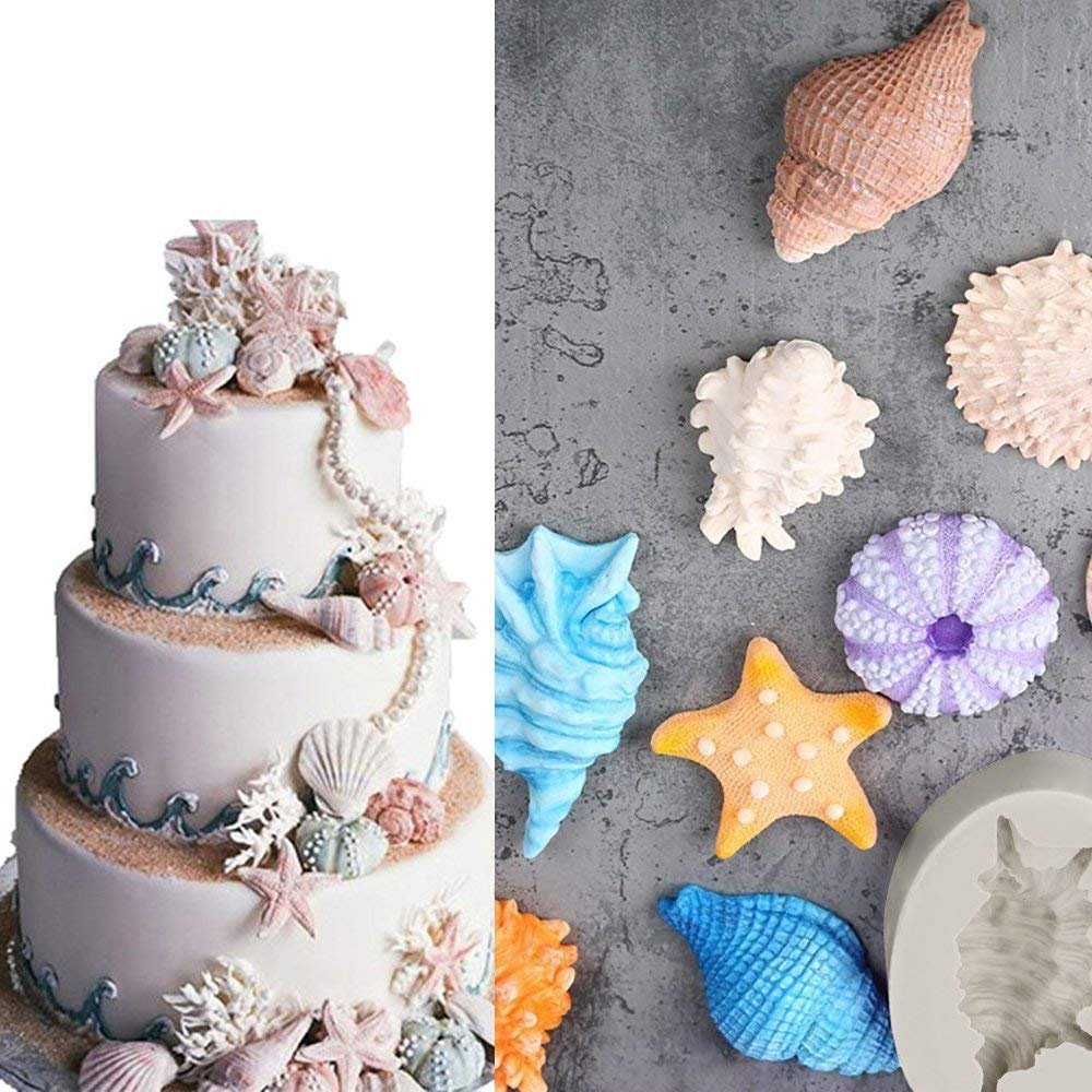 Anyana Seashell Starfish Sea Urchin Seagull mold Fondant silicone Mould for gum paste Sugar paste cake decorating cupcake topper decor set of 7pcs by Anyana (Image #5)