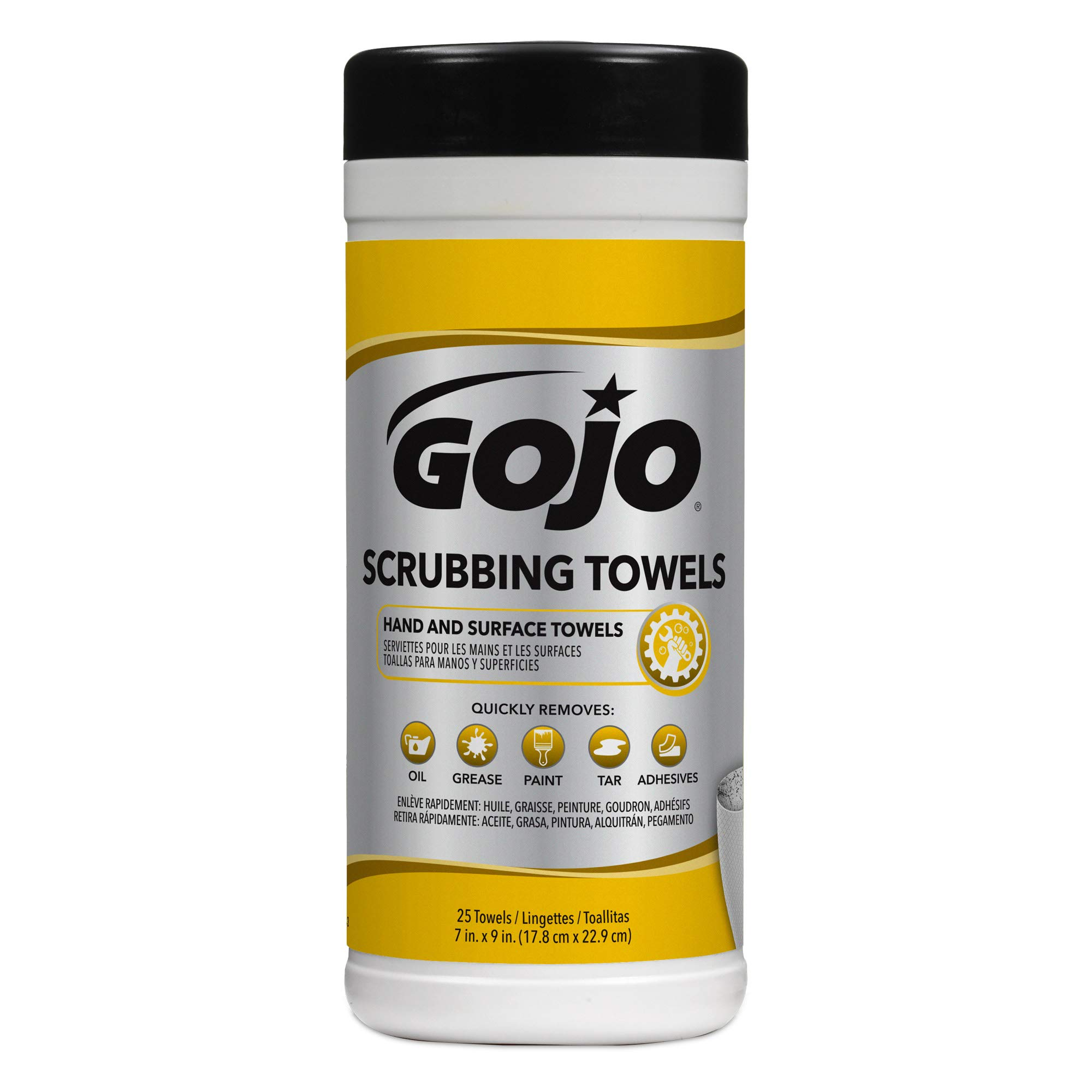 GOJO Scrubbing Towels, Fresh Citrus Scent, 25 Count Extra-Large Textured Wet Scrubbing Towels Canisters (Case of 6) - 6383-06 by Gojo (Image #2)