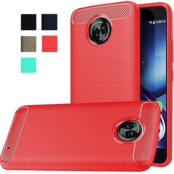 pretty nice 7c3b7 0e5ca Moto X4 Case, Dretal [Shock Resistant] Flexible Soft TPU Brushed  Anti-fingerprint Full-body Protective Case Cover For Motorola Moto X4  (2017) (Red)