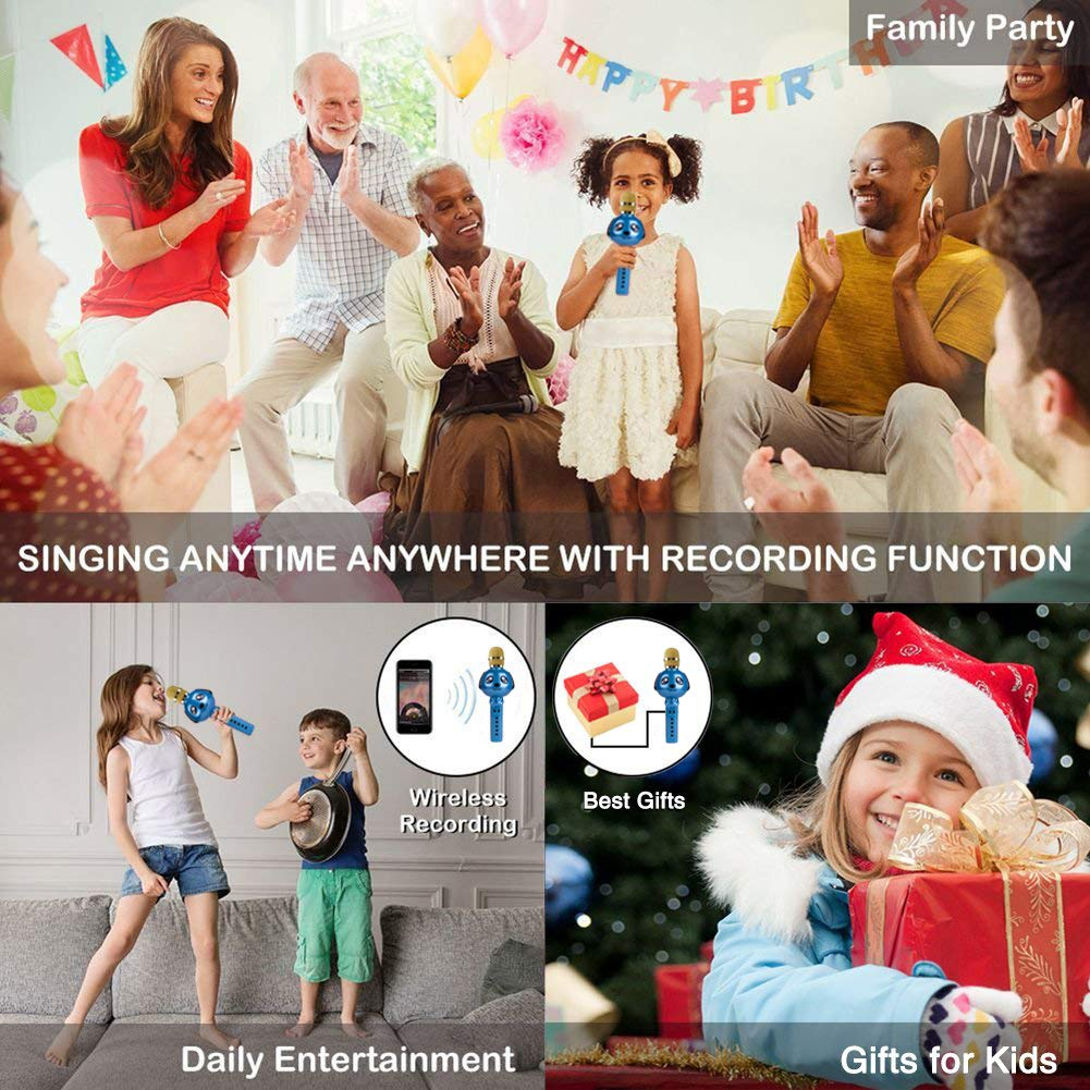 Wireless Karaoke Microphone for Kids Bluetooth Mic Portable Handheld Karaoke Machine for Kids Singing KTV Parties Boys Girls Parties Christmas or Birthday Gifts Toys iPhone Android PC (Blue) by Rhllxzo (Image #5)