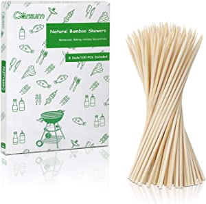 Garsum Natural BBQ Bamboo Skewers, Wooden Skewers for Assorted Fruits, Kebabs, Grill, Highly Renewable Natural Resources, Suitable for Kitchen, Party, Food Catering and Crafting 8