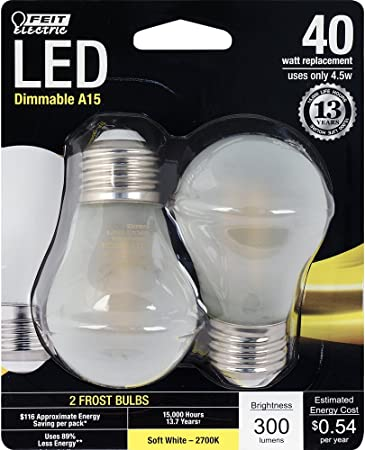 Pack of 6 LED Dimmable 40W Soft WHITE 5.5 WATT Omni Directional Crystal Clear